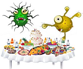 вирус и бактерия за столом